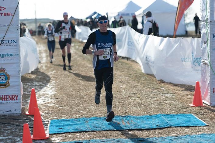 Erwin Baertschi crosses the finish line (Photo: Peter Stokes)