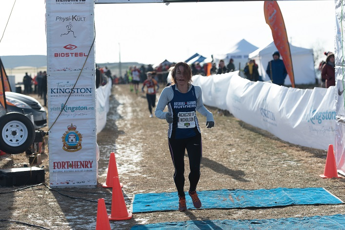 Jennifer Nicholson crosses the finish line (Photo: Peter Stokes)