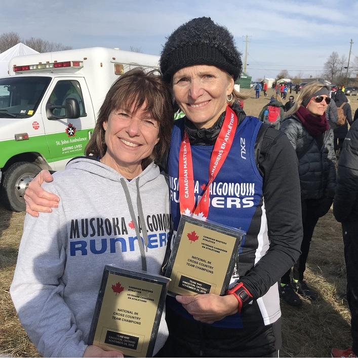 Nancy Edson (left) and Kim Russel Brooks, W60-69 champions