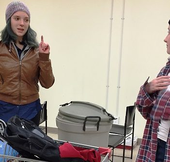 Meeda Berg (left) as Louise and Hope Mackinnon as Danny in HTC rehearsal for Danny, King of the Basement (supplied)