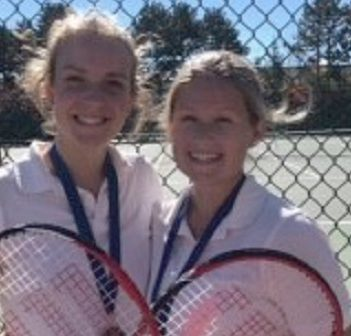 HHS senior girls tennis pair Randi Deline and Lindsey Young (supplied)