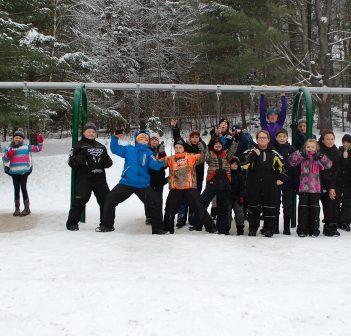 Spruce Glen students love their new swing set