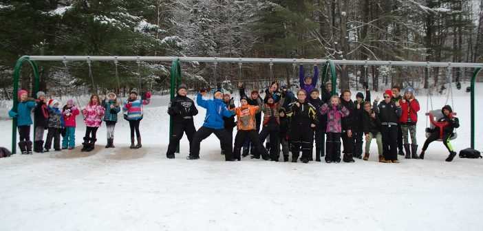 Spruce Glen students love their new swing set