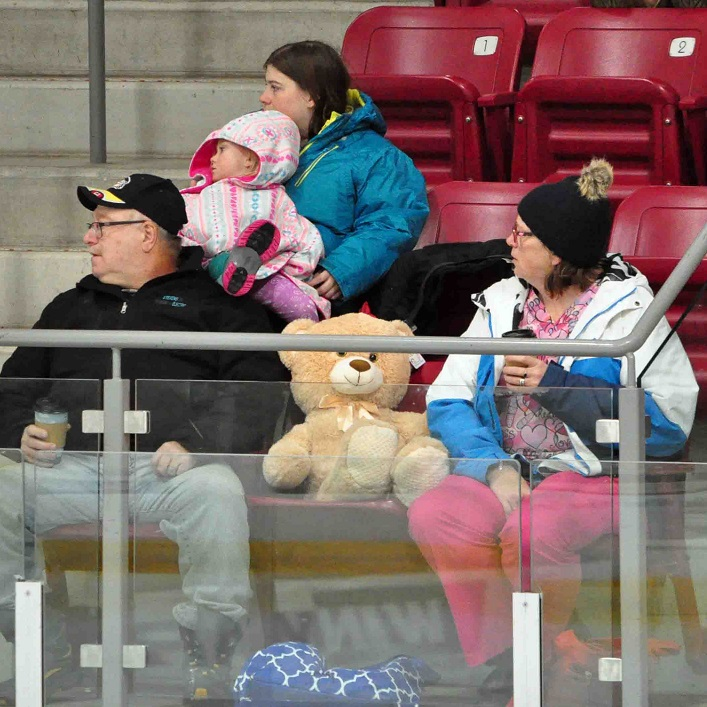 Fans awaited the moment when they could toss their bears to the ice