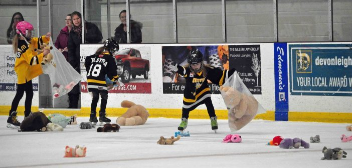 Huntsville Sting players volunteered to collect the teddy bears at the Jr C Otters annual Teddy Bear Toss