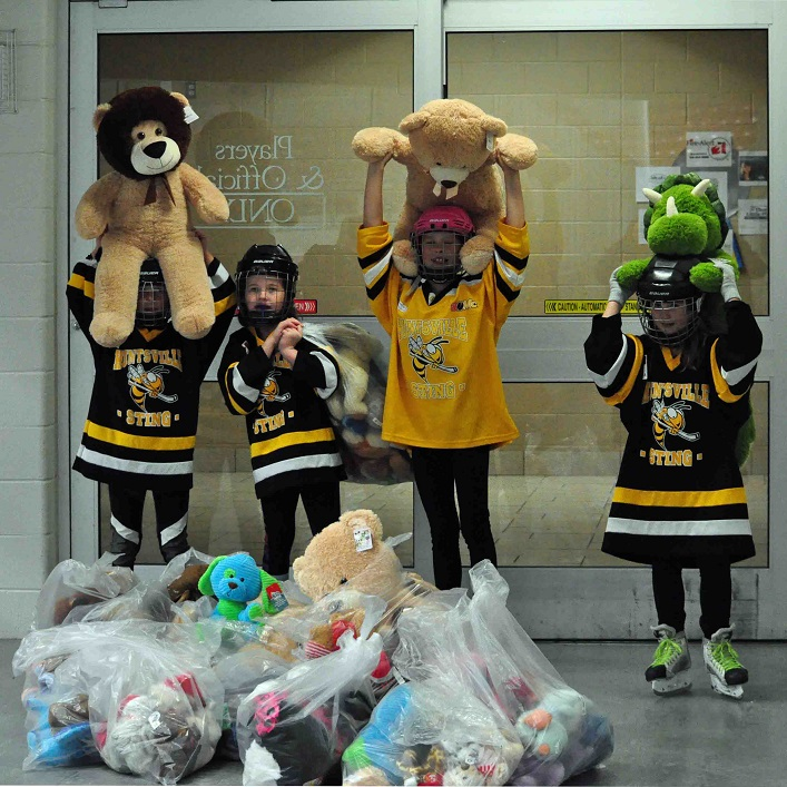 Huntsville Sting players (from left) Miah Tilstra, Tessa Easy, Alexis Waters, and Waverly Earl collected the bears from the ice