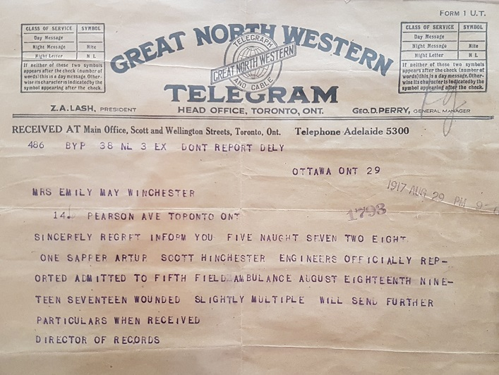 Telegram notifying May Winchester that Arthur had been wounded