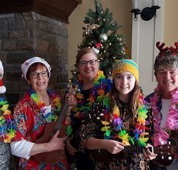 Members of the Huntsville Ukulele Group (from left) singer Pauline Diamond and players Mary Lou Verbonac, Karen Ross, Mya Wilkin, and Sharon Stahls