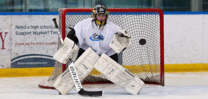 Charley Wing at a goalie camp in Orillia hosted by goalie coach Dan Spence of 360 Goaltending (Photo: Tracy Fowler, Family Tree Photography)