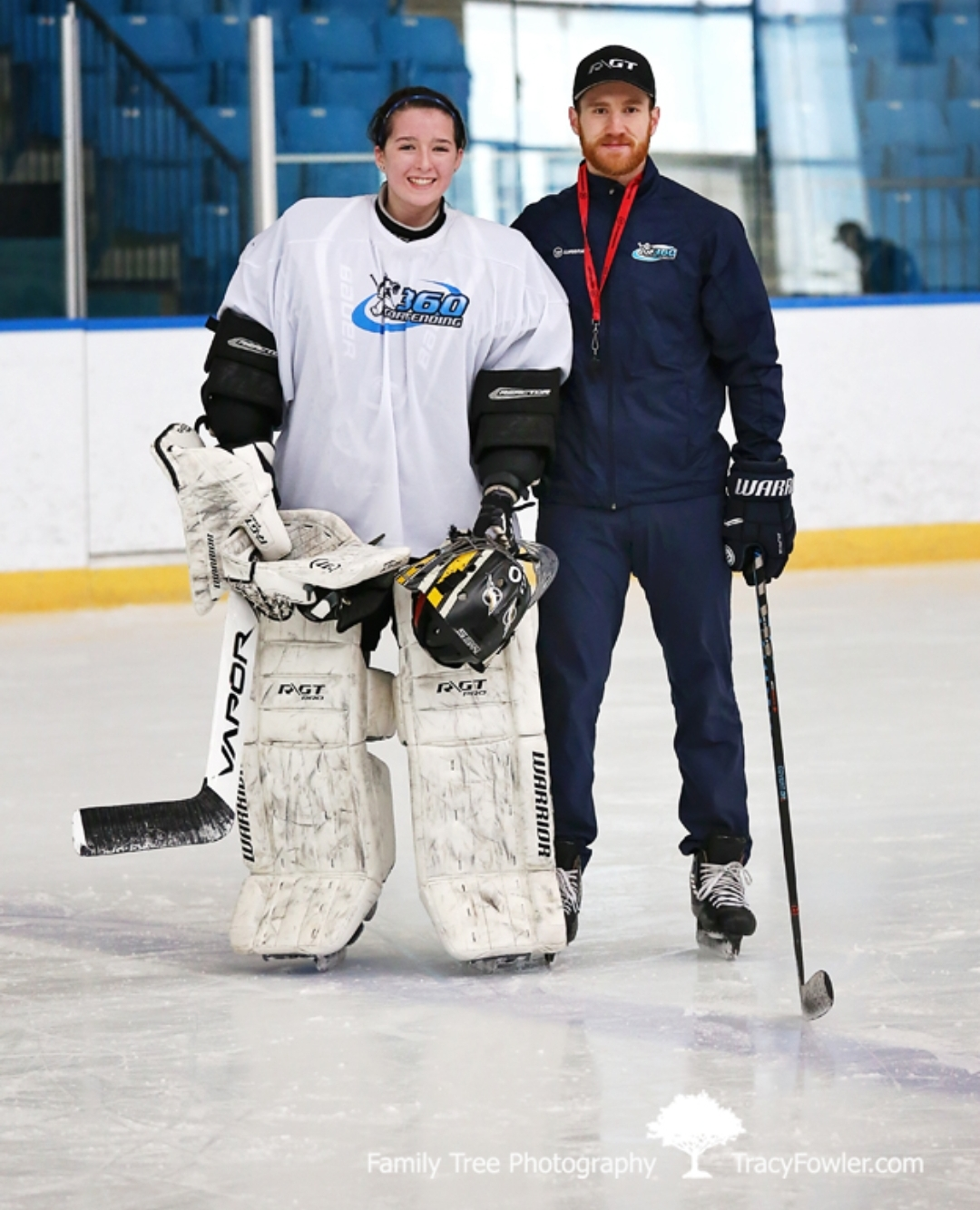 Charley Wing with goalie coach Dan Spence of 360 Goaltending in Orillia (Photo: Tracy Fowler, Family Tree Photography)