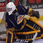 Tyler Miller in net for the Huntsville Junior C Otters