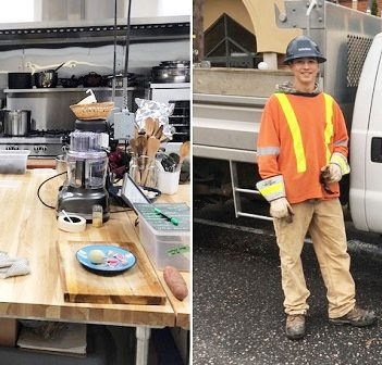 HHS co-op students Sasha Astrafallie (left at the Muskoka North Good Food Co-op) and Lukas Smith at Lakeland Power