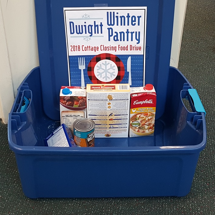 Residents have been regularly dropping donations for the Dwight Winter Pantry in bins like this one at Dwight Public Library