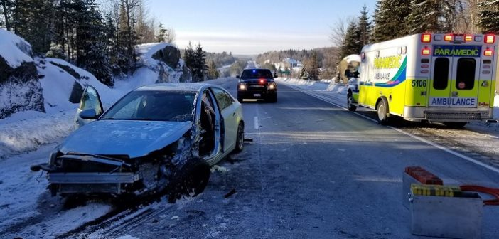 Driver in single-vehicle crash on Hwy 11 suffers non-life-threatening injuries