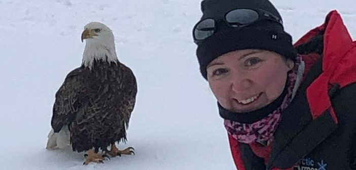 Sara (pictured) and Daniel Storozuk had a unique selfie opportunity when a bald eagle joined them for some ice fishing (Photo courtesy of Sara and Daniel Storozuk)
