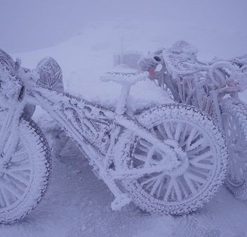 Both bikes and people will have to withstand snow, ice and bitter cold during the James Bay Descent (Photo: Eric Batty at Whiteface Mountain)