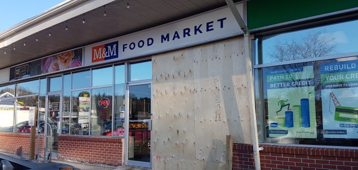 A car drove into the front of M&M Market on Feb. 4, 2019