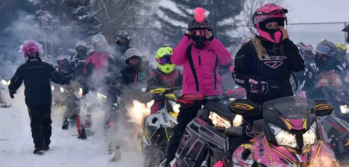 Sledders are geared up and ready to go for the 2019 Kelly Shires Breast Cancer Snow Run