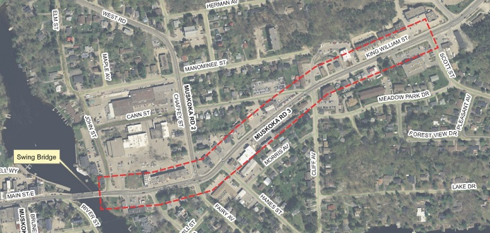 The section of King William Street that will undergo construction in 2019 is outlined in red (District of Muskoka)