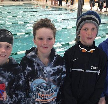 The MUSAC 10 and Under Boys 4x50m Medley Relay Team (from left) George Kierstead, Josh Gevaert, Tyler Gevaert and Arik Martin-Padfield