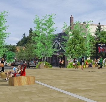 An artist's rendering of the proposed downtown Huntsville streetscape project (Image: District of Muskoka/The Planning Partnership)