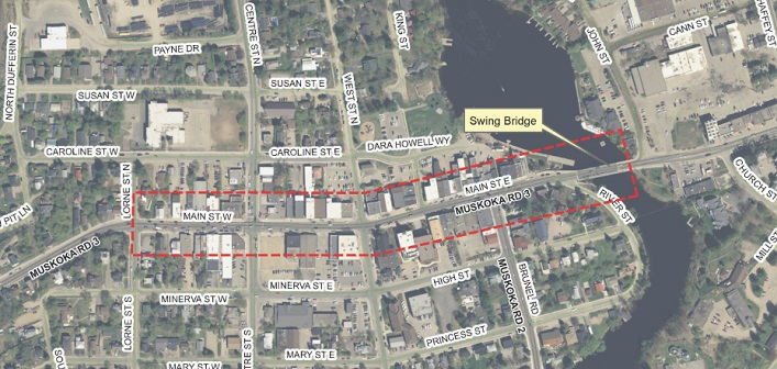 The downtown streetscape and Main Street revitalization project area is outlined in red (Image: District of Muskoka)