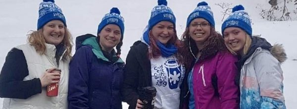 Muskoka Builders' Association Walking Proud (from left) Jocelynn Briggs, Stephanie Piercey, Kirsten Dale, Katy McGregor and Nikki McGregor at CNOY 2019 (supplied)