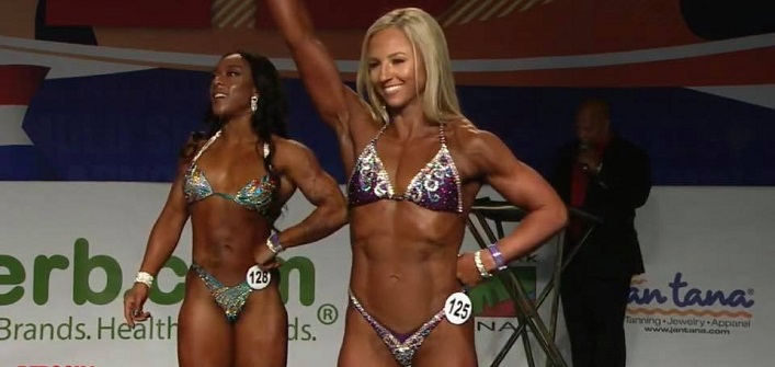 Angie Aldridge at the Arnold Classic bodybuilding championships in March 2019 (supplied)