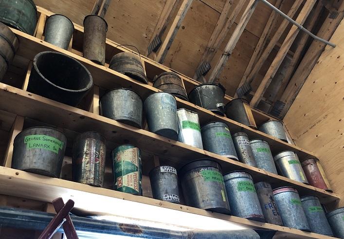 Antique sap buckets at Sugarbush Hill Maple Farm