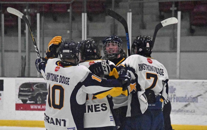 The Armstrong Dodge Midget AE Otters celebrate their quarter-final series win over the Ennismore Eagles (Doppler file photo)