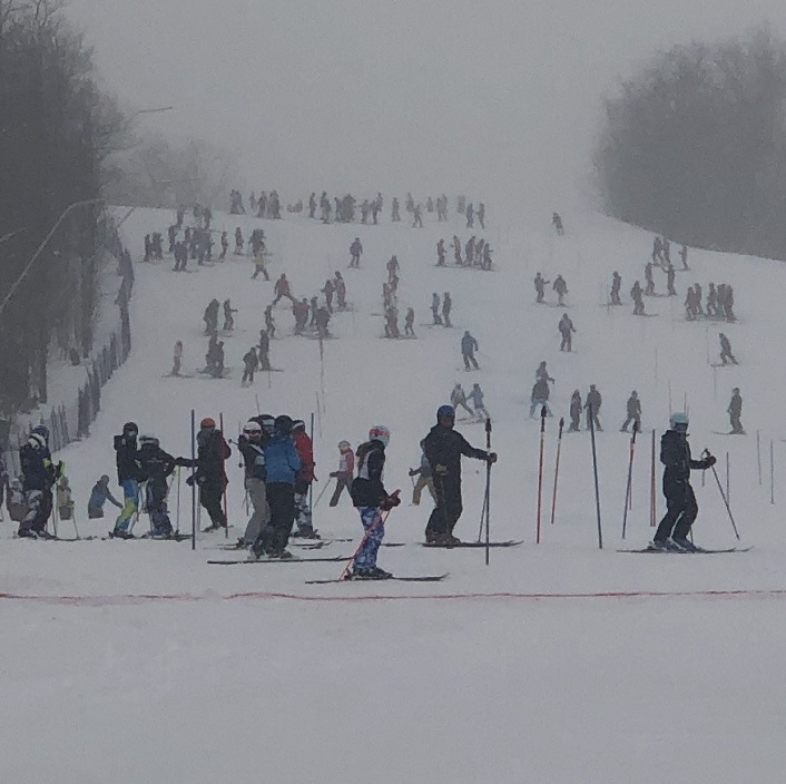 Skiers inspect the course prior to the 2019 OFSAA provincial championships (supplied)
