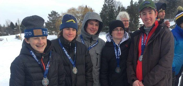 HHS Alpine Junior Boys ski team at OFSAA 2019 (from left) Kyle Mattice, Noah Jason, Chris Miller, Harry Farnsworth, and Dale Shewfelt (supplied)