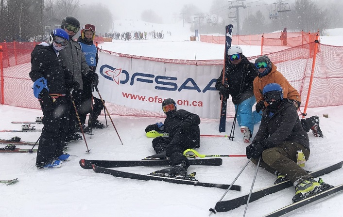 The HHS Alpine Junior Boys ski team at OFSAA 2019 (from left) Harry Farnsworth, Chris Miller, Kyle Mattice, Noah Jason, coaches Nico Byl and Zach Belfry, and Dale Shewfelt (supplied)