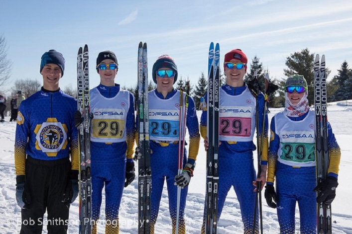 The HHS Nordic Junior Boys team at OFSAA 2019 (from left) Gavin McPhee, Keenan Patterson, Zak Varieur, Ryan Clarke, and Cole Punchard. (supplied)