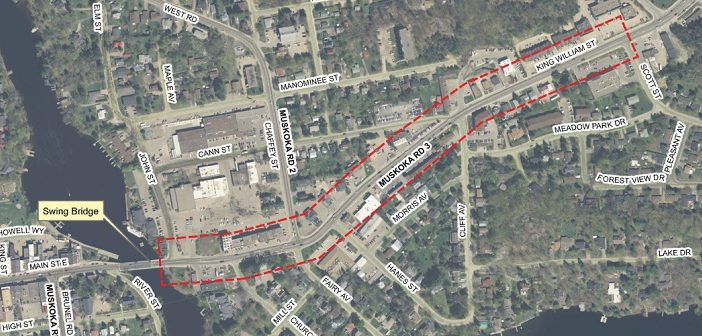 This map shows the section of King William Street (delineated in red) that will undergo phased construction in 2019 (engagemuskoka.ca)