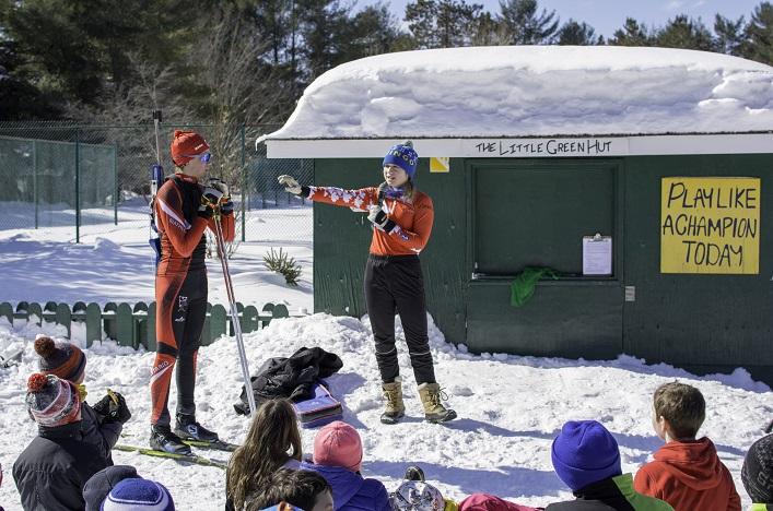 Natasia and Zak Varieur gave a biathlon demonstration for local schools at Tawingo College's biathlon