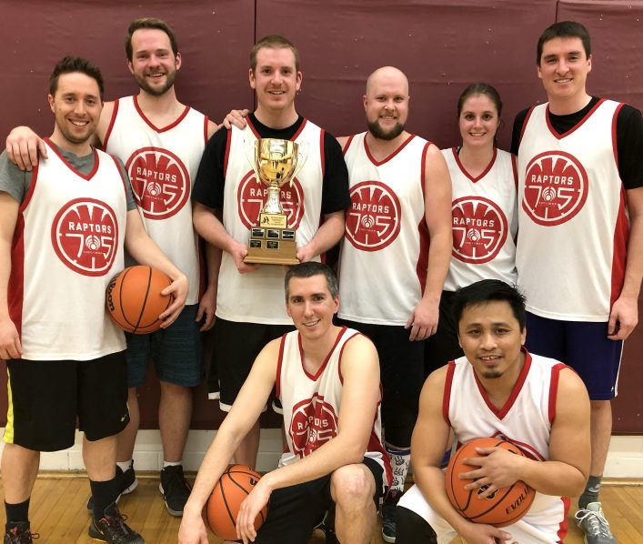 Raptors 705 Unity Group Financial (back from left) Blake Dietrich, Scott Barker, Cooper Schnurr, Nathan Jenner, Heather Payne, Charles Hancock; (front from left) Ben Fuller, Jimmy Orlanda, and (missing from photo) Mike Harrower (supplied)