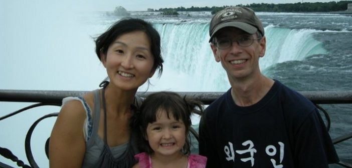 In this undated photo, Seungah Kim, Mike Talbot, and their daughter Gina on a visit to Niagara Falls (supplied)