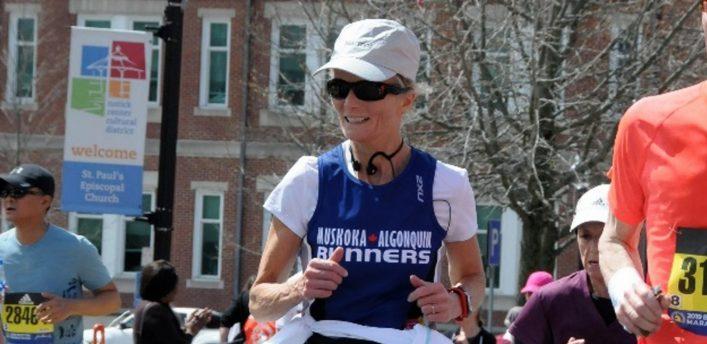 Kim Russel-Brooks at the Boston Marathon in April 2019