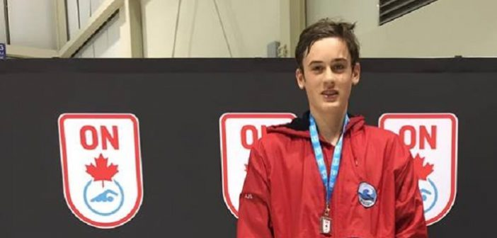 Aidan Spiers won silver in the 100M Fly at the Ontario Youth-Junior Championships in March 2019 (supplied)