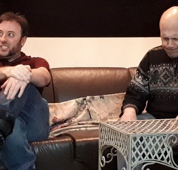 """Dustin Whitcomb and Drew Hutcheson in rehearsal for """"Never Kiss a Naughty Nanny"""" (Photo: Huntsville Theatre Company)"""