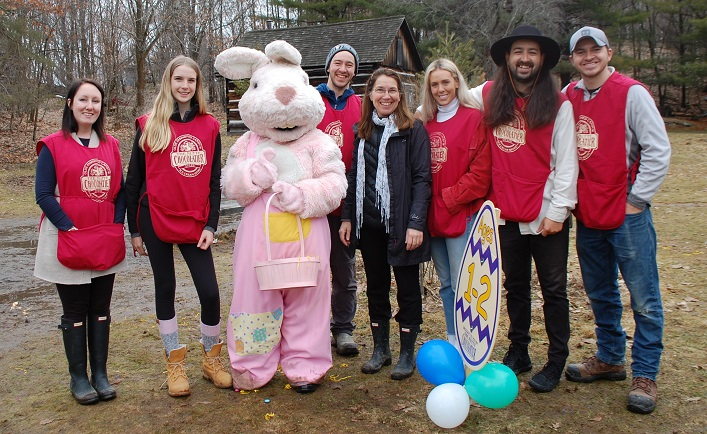 Family and friends from The Nutty Chocolatier (from left) Emma Schofield, Victoria Collis, the Easter bunny a.k.a. Abigail Takacs-Tinsley, Dale Wenger, Nancy Wenger, Olivia MacIsaac, Keele Wenger and Cole Wenger were responsible for all of the Easter good cheer