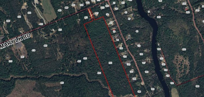 The South Mary Lake property proposed to be subdivided into 29 lots is marked in red.