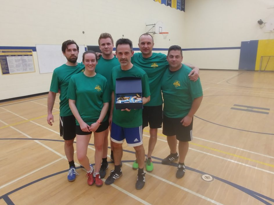 HSC adult indoor soccer league's second place team for 2018-19, Wolfsburg Algonquin, (from left) Greg Cholkan, Fair Play Award winner Heather Gibbons, Jason Campbell, Graham Thompson, Dawid Jusczak and Anthony Asturi.