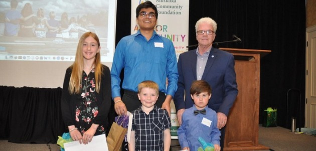 District of Muskoka chair John Klinck (back right) with Smart and Caring Muskoka award recipients (back from left) Lara Memory, Shrey Patel, (front from left) Mitchell Donald, and Heath Parkinson (supplied)