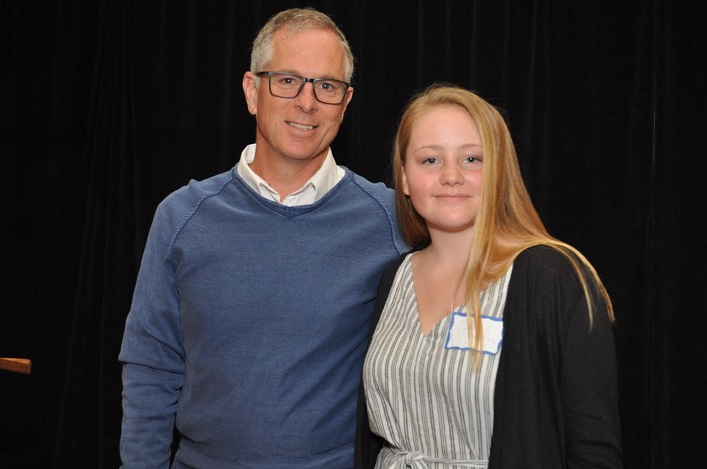 Dara's Fund grant recipient Emma Brearley (right) with Doug Howell. Missing: Rebecca Jeffery. (supplied)