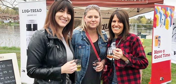(From left) Natalie Pigean, Melissa Patry, and Francine Gouland sample brews at the Muskoka 2/4 Craft Beer Festival