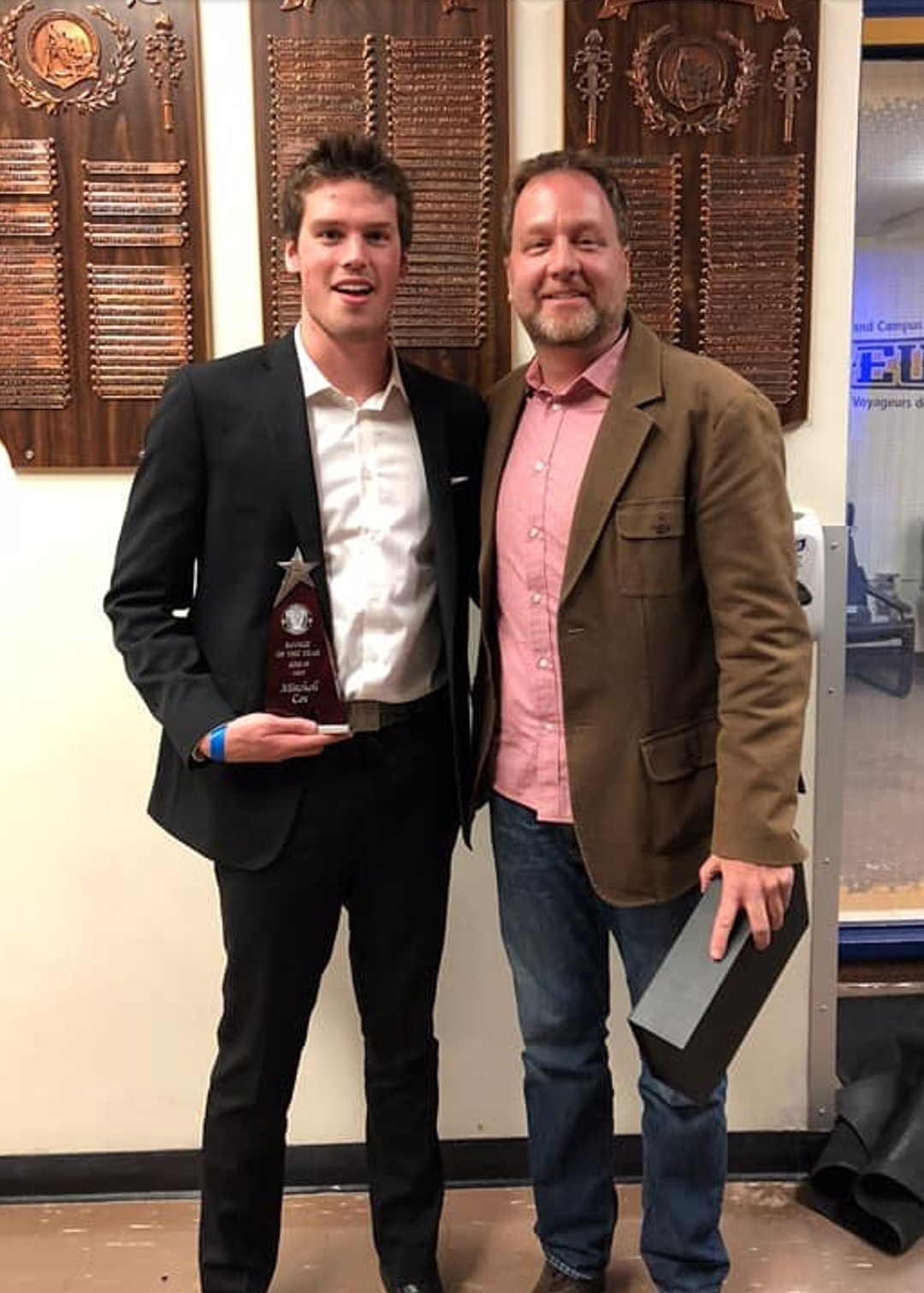 Mitchell Cox and his Coach Phil Parker from Laurentian University (supplied)