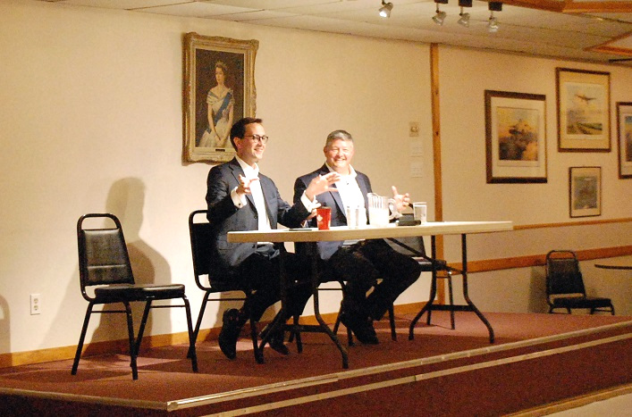 Conservative nominees Alan Fraser (left) and Scott Aitchison at a meet-the-candidates event at the Huntsville Legion on June 26. Meghan Shannon and Holly Thompson were not present.