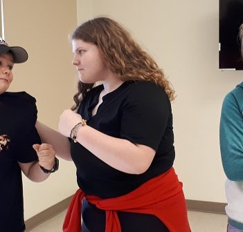 (From left) Zachary Fedoun, Shelbie Schumacher, and Kelsey Kidd in rehearsal for Fantastic Mr. Fox (supplied)